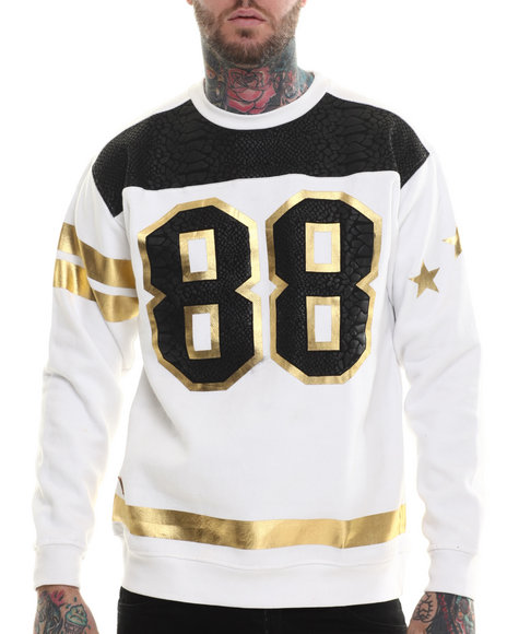 Buyers Picks - Men White Faux Croc Print 88 Sweatshirt - $55.99