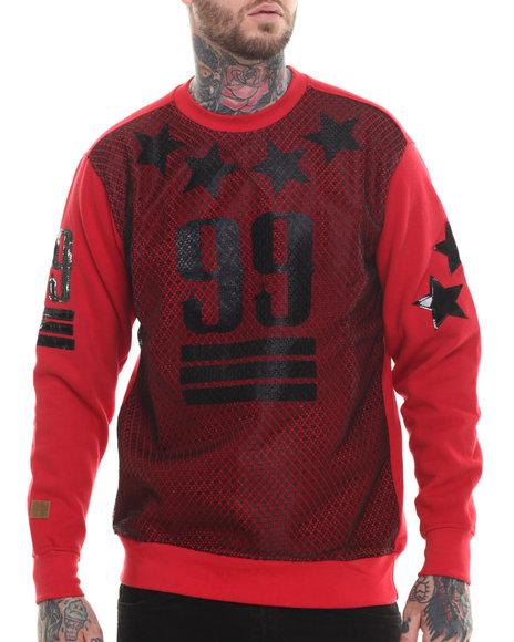 Buyers Picks - Men Red Mesh Front 99 Sweatshirt