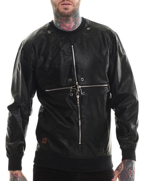 Buyers Picks - Men Black Cross Zipper Faux Leather Crewneck Sweartshirt (Floral Interior Detail)