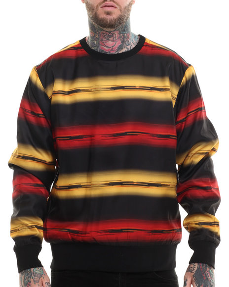 Rocawear - Men Black Blurred Lines Crewneck Sweatshirt