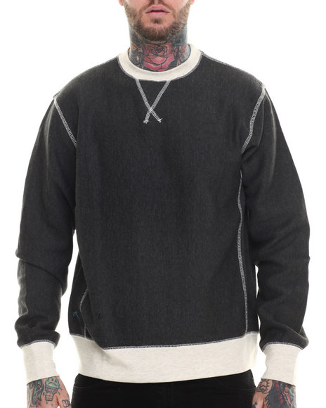 Rocawear - Men Black Fulton Crewneck Fleece Sweatshirt