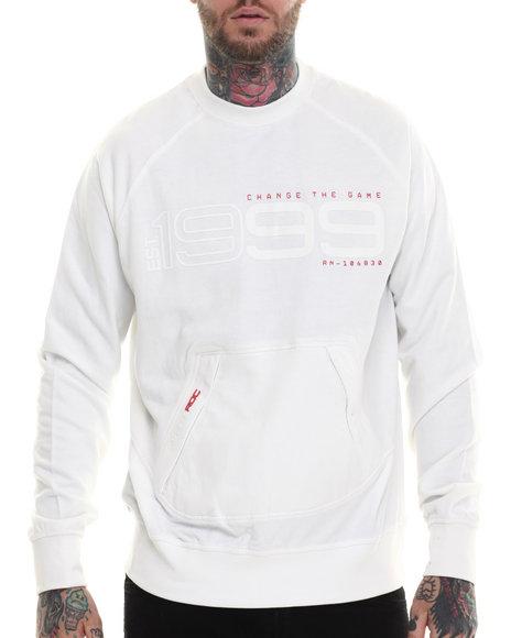 Rocawear - Men White Hi-Tech Crewneck Sweatshirt