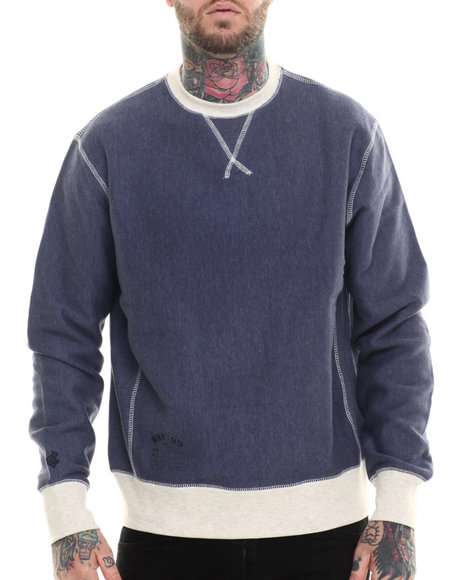 Rocawear - Men Blue Fulton Crewneck Fleece Sweatshirt