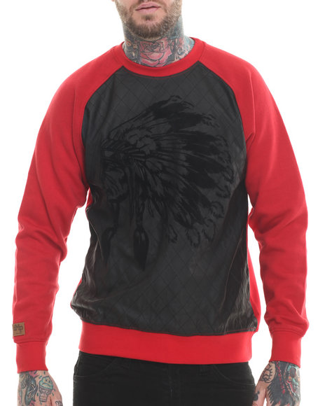 Buyers Picks - Men Red Indian Face Quilted Crewneck Sweatshirt