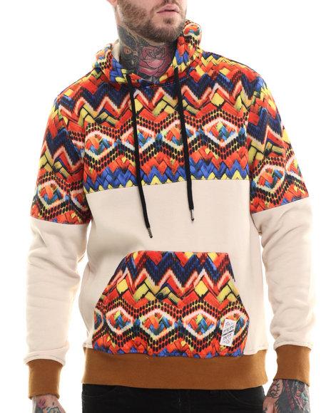 Rolling Paper - Men Khaki Fleece Printed Pullover Hoodie