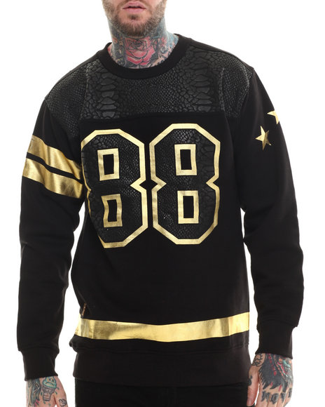 Buyers Picks - Men Black Faux Croc Print 88 Sweatshirt