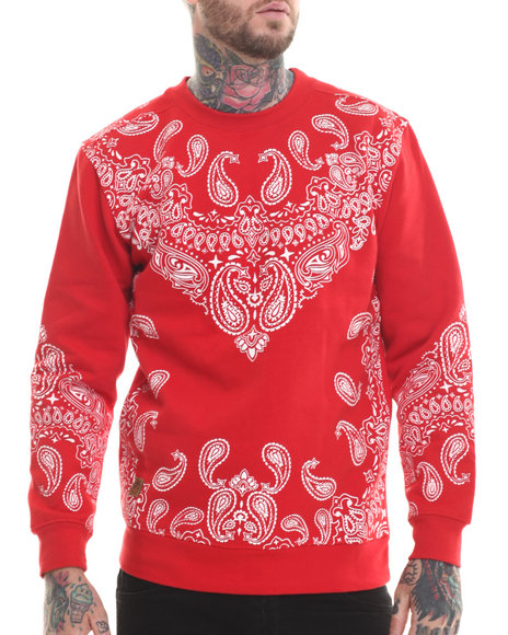Buyers Picks - Men Red Bandana Print Fleece Sweatshirt