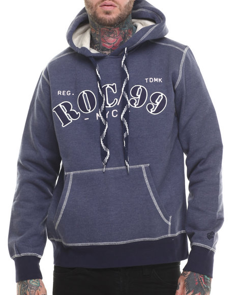 Rocawear - Men Blue Eastern Pkwy Pullover Fleece Hoodie
