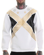 "Buyers Picks - ""X"" Neoprene Crewneck sweatshirt (faux leather detail)"