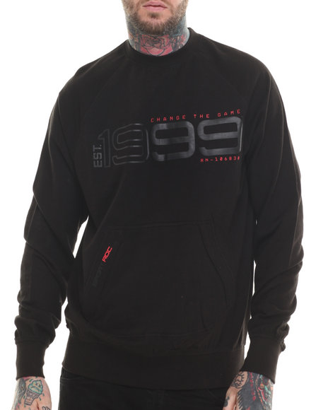 Rocawear - Men Black Hi-Tech Crewneck Sweatshirt