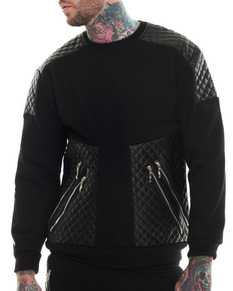 Buyers Picks - Men Black Futuristic Faux Leather Trim Sweatshirt