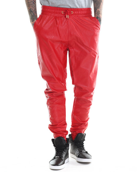 Buyers Picks - Men Red Full Faux Leather Jogger Pants