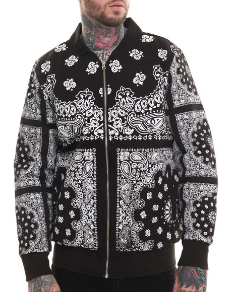 Buyers Picks - Men Black All Over Bandana Premium Full Zip Baseball Jacket