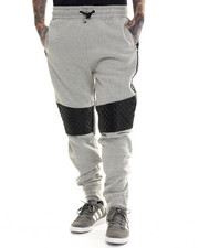 Jeans & Pants - Futuristic Faux leather trim Jogger pants