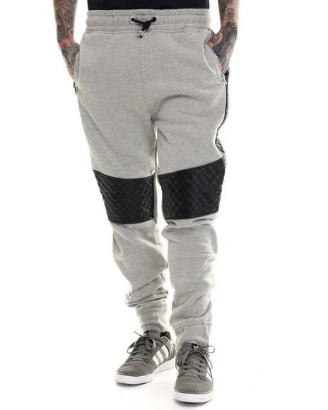Buyers Picks - Men Charcoal Futuristic Faux Leather Trim Jogger Pants