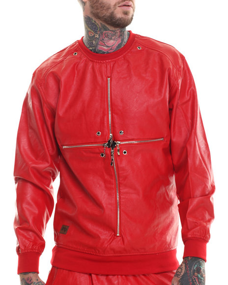 Buyers Picks - Men Red Cross Zipper Faux Leather Crewneck Sweartshirt (Floral Interior Detail)