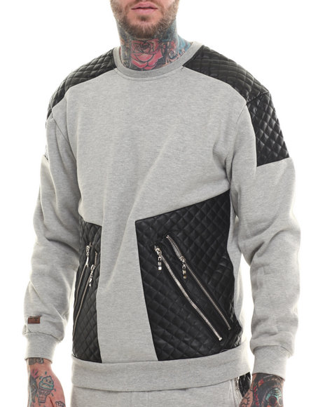 Buyers Picks - Men Grey Futuristic Faux Leather Trim Sweatshirt