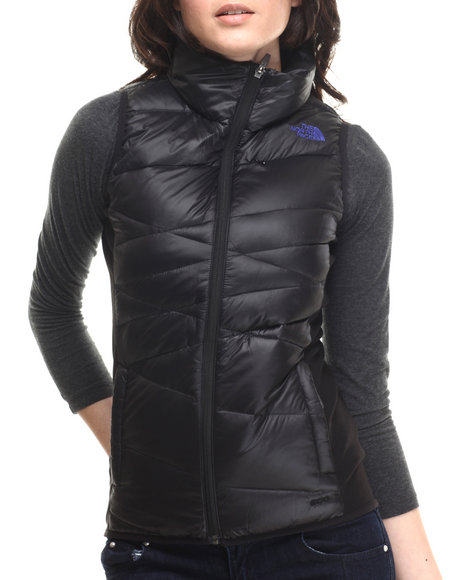 The North Face - Women Black,Blue Hyline Hybrid Down Vest