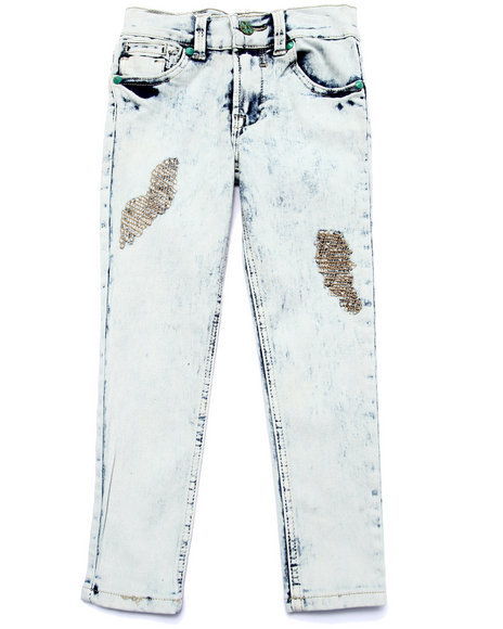 La Galleria - Girls Medium Wash Supernova Distressed Skinny Jeans (4-6X)