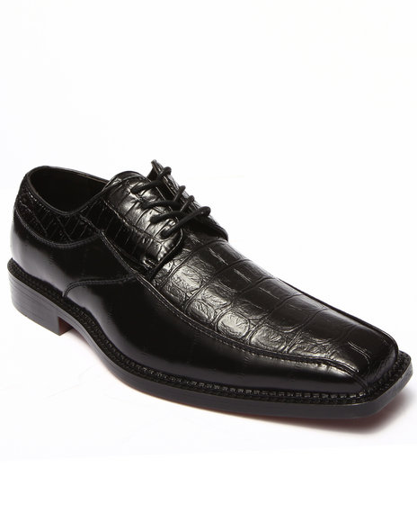 Buyers Picks - Men Black Croc Embosed Faux Leather Shoe
