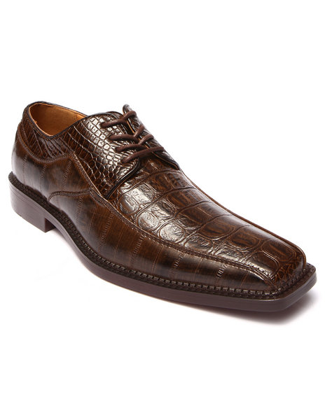 Buyers Picks - Men Brown Croc Embosed Faux Leather Shoe