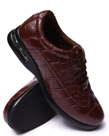 Pelle Pelle - Men Brown Pelle Faux Leather Embossed Gator Print  Shoes - $51.99