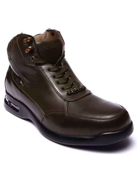 Pelle Pelle - Men Olive Pelle Faux Leather Quilted Boot - $42.99