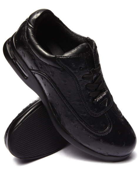 Pelle Pelle - Men Black Pelle Faux Ostridge Embossed Shoe