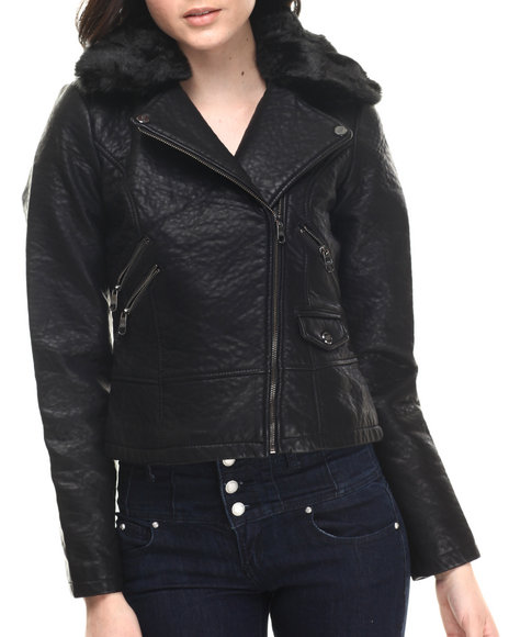Ur-ID 200650 Steve Madden - Women Black Faux Leather Moto Jacket W/ Removable Faux Fur Collar