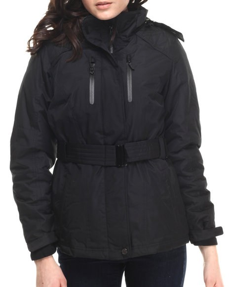 Cb - Women Black Faux Fur Hooded 2-In-1 Jacket W/ Fleece Inner Jacket - $89.99