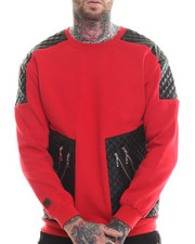 Sweatshirts & Sweaters - Futuristic Faux Leather Trim Sweatshirt