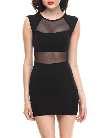 Summer B. - Women Black Lorelle Body Con W/Mesh Detail Dress