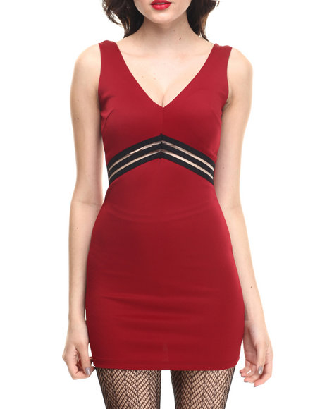 Summer B. - Women Red Jersey Dress W/Mesh Detail