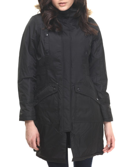 Cb - Women Black Faux Fur Trim Hooded Parka - $50.99