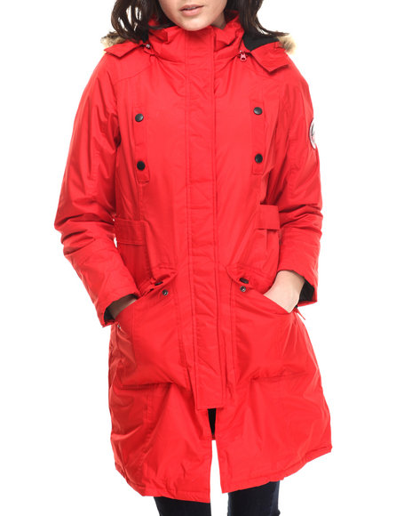 Ur-ID 200661 CB - Women Red Faux Fur Trim Hooded Parka by CB