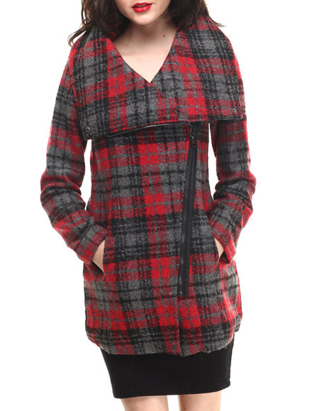 Ur-ID 200663 Steve Madden - Women Black,Red Plaid Oversized Collar Wool Coat