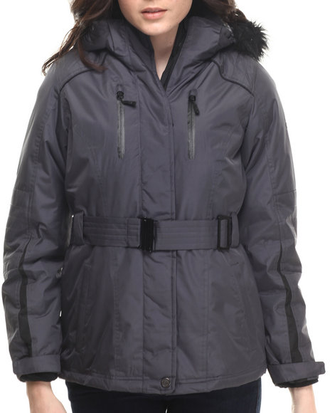 Ur-ID 200667 CB - Women Charcoal,Black Faux Fur Hooded 2-In-1 Jacket W/ Fleece Inner Jacket