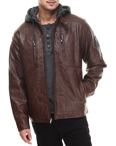 Rocawear - Men Brown P U Jacket W/ Detachable Fleece Hood