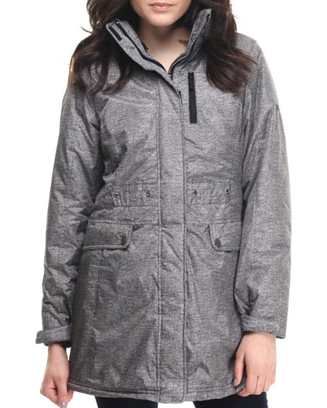 Ur-ID 200669 CB - Women Grey Hooded Long Ski Jacket W/ Inner Zip-Out Bubble Jacket