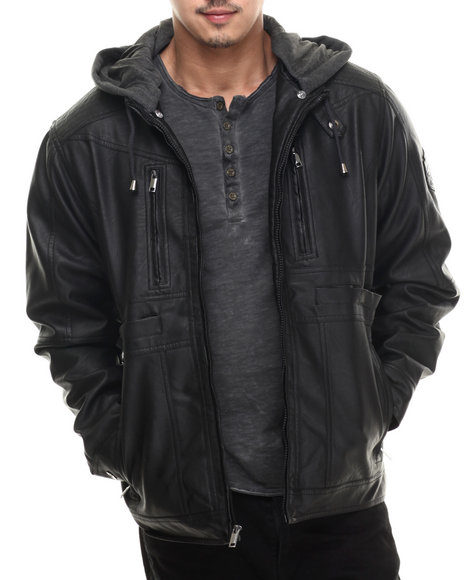 Rocawear - Men Black P U Jacket W/ Detachable Fleece Hood