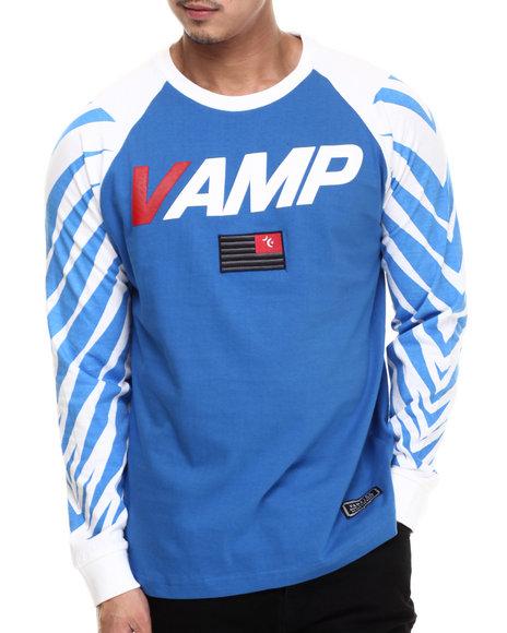 Ur-ID 200674 Vampire Life - Men Blue Vamp Moto L/S Raglan