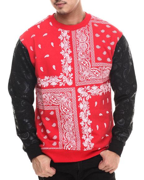 Buyers Picks - Men Red Bandana Paisley Fleece Sweashirt