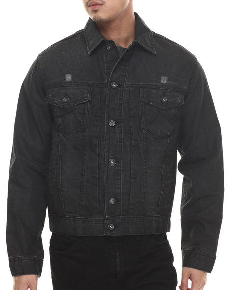 Rocawear - Men Black Coated Volume Denim Jacket