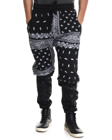 Buyers Picks - Men Black Bandana Detachable Jogger Pants