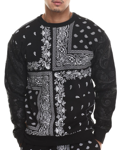 Buyers Picks - Men Black Bandana Paisley Fleece Sweashirt
