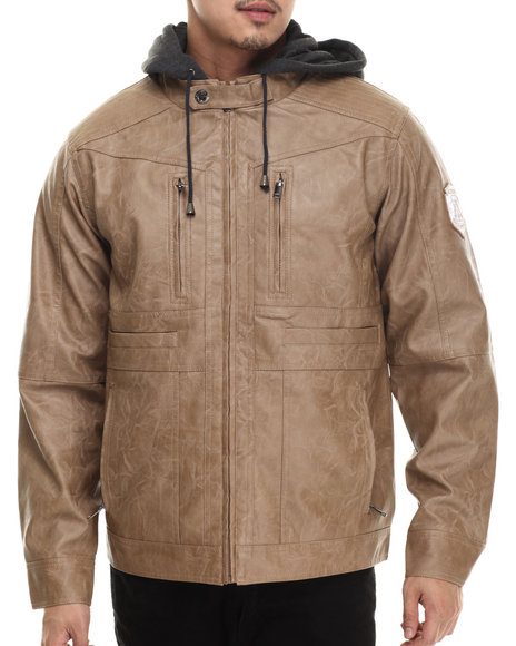 Ur-ID 200651 Rocawear - Men Light Brown P U Jacket W/ Detachable Fleece Hood