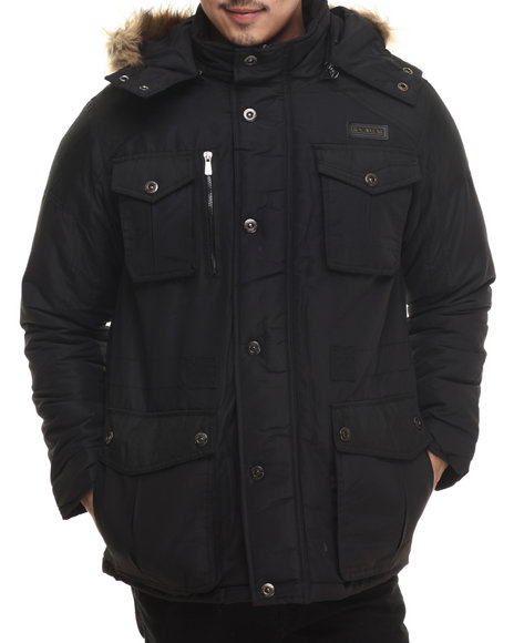 Rocawear - Men Black Nylon Insulated Parka W/ Detachable Hood