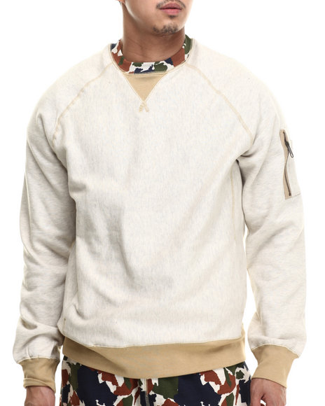 Rocawear - Men Cream 4 Boro Camo Crewneck Fleece Sweatshirt
