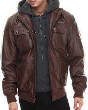 Leather Jackets - P U Leather Jacket w/ Attached Fleece Hood