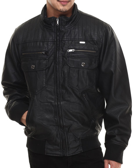 Ur-ID 200665 Rocawear - Men Black P U Garment Wash Jacket